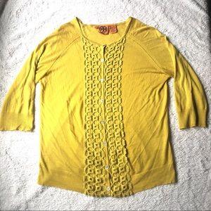 Tory Burch Silk/Cashmere Blend Honeycomb Cardigan